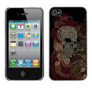 Qstar Arte & diseño plástico duro Fundas Cover Cubre Hard Case Cover para Apple iPhone 4 / iPhone 4S / 4S ( Skull Skeleton Art Painting Drawing)