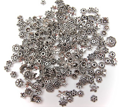 ALL in ONE 60g Mixed Styles Antique Silver Plated Tibetan Style Filigree Flower Cup Shape Bead Caps Charms Jewelry Findings