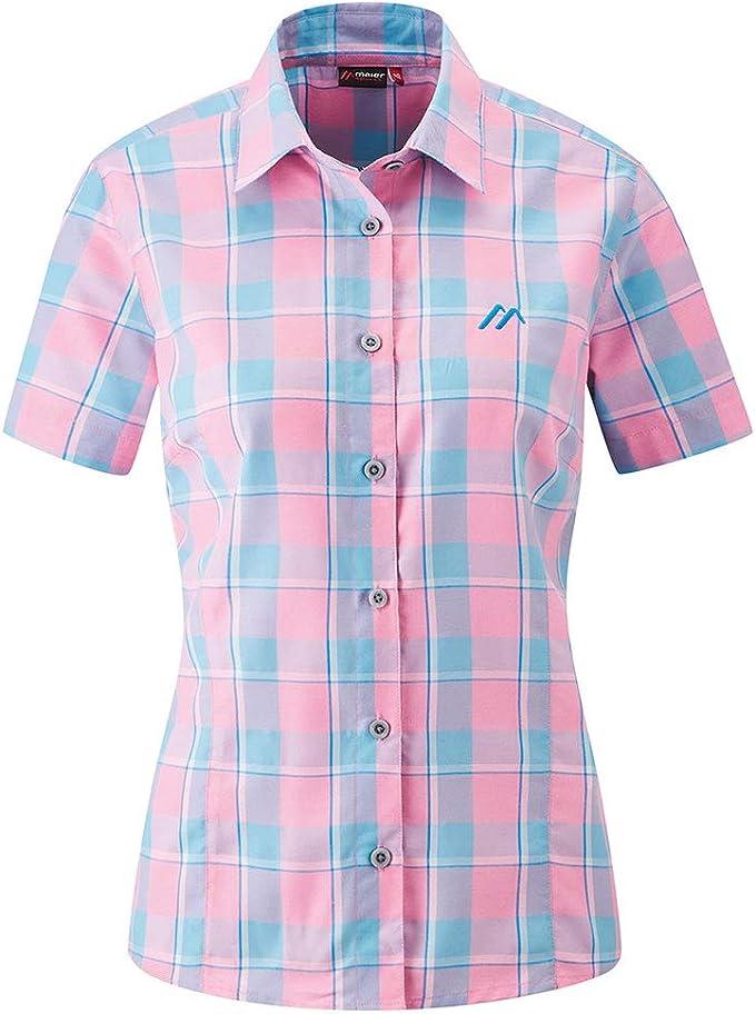 Wanderbluse Funktionsbluse Blue Check Maier Sports Damen Bluse Jara 1//1 Arm