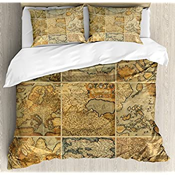 Amazon ambesonne world map duvet cover set king size anthique ambesonne world map duvet cover set queen size collage with antique old world maps vintage ancient collection of civilization decorative 3 piece bedding gumiabroncs Image collections