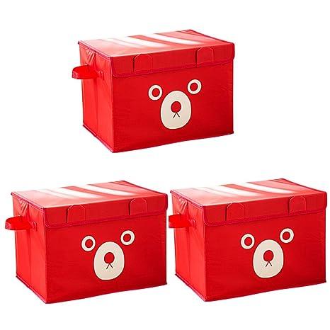 BOXLeader Caja de Superior Caja de 3 Pack Plegable Plegable Caja Caricatura Organizador Plegable plástico Caja
