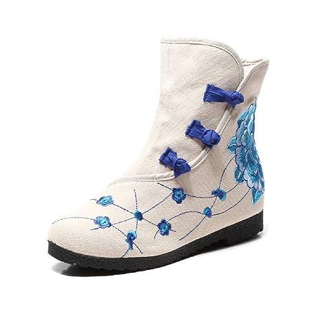 Fuxitoggo Zapatos de Mujer Bordados con tacón Oculto Bordado de Flores (Color : Blanco,