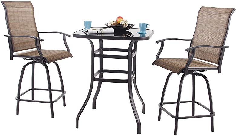 Amazon Com Phi Villa 3 Pc Swivel Bar Stools Set Bar Height Bistro Sets Outdoor 2 Chairs And 1 Table Garden Outdoor