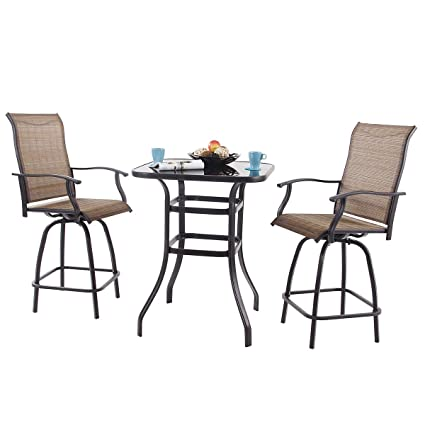 Amazon Com Phi Villa 3 Pc Swivel Bar Stools Set Bar Height Bistro