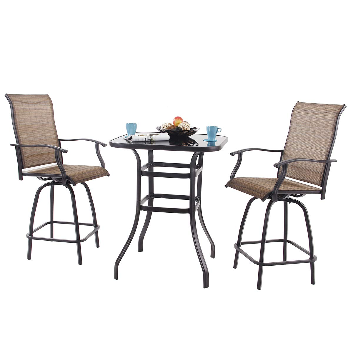 PHI VILLA 3 PC Swivel Bar Stools Set Bar Height Bistro Sets Outdoor, 2 Chairs and 1 Table