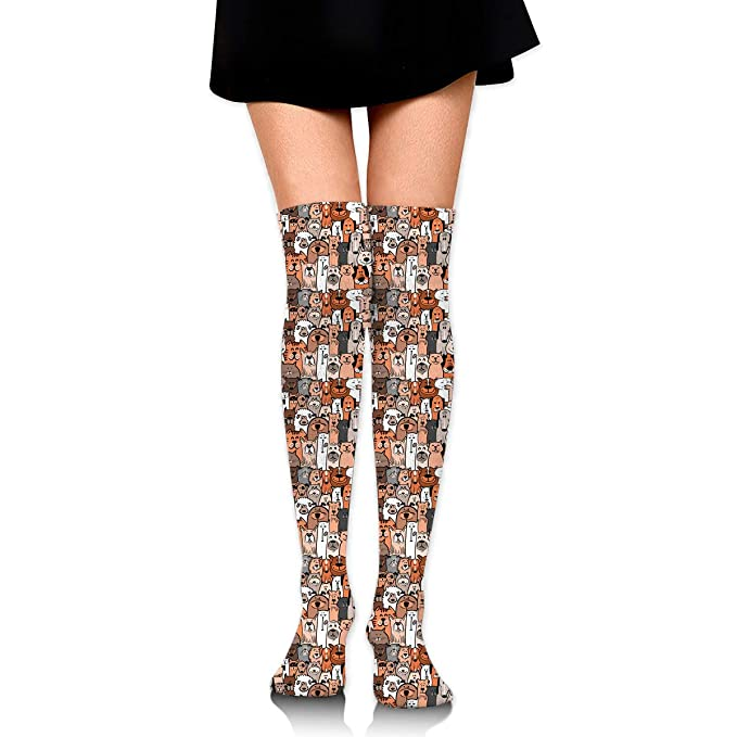 Womens//Girls Dog Doodle Pattern Casual Socks Yoga Socks Over The Knee High Socks 23.6