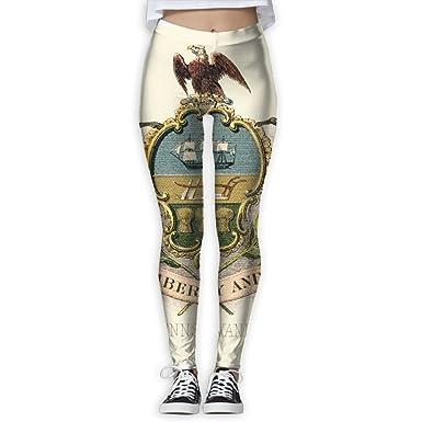 0ca08542ca6a8 EWDVqqq Women/Girl Yoga Pant Pennsylvania State Coat of Arms High Waist  Fitness Workout Leggings