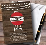 Wood Bbq Time Childrens Birthday Party Invitations