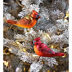 Blown Glass Cardinals Christmas Ornaments, Set of 2