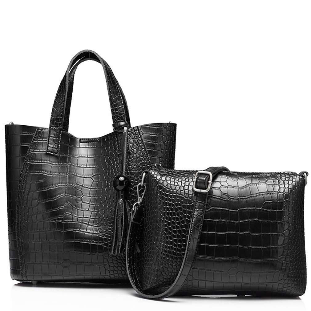 2Pcs Women Pu Leather Handbag Serpentine Totes Ladies Shoulder Female Messenger Crossbody Bag