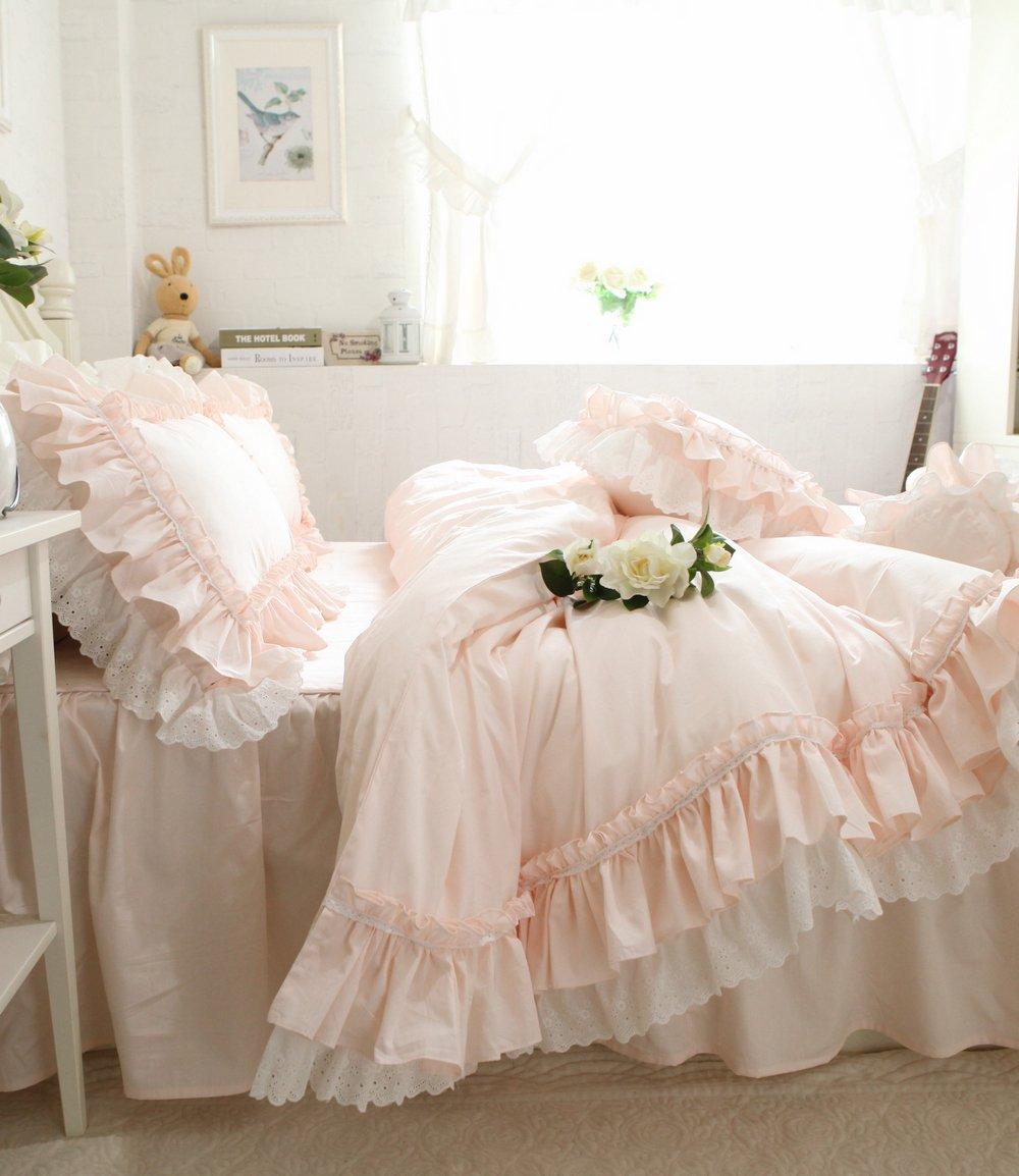 Lotus Karen Sweet Light Pink Ruffles Korean Princess Bedding Set Hollow Lace 100%Cotton 4PC Girls Duvet Quilt Cover Set,1Duvet Cover,1Bedskirt,2Pillowcases,King Queen Full Twin Size