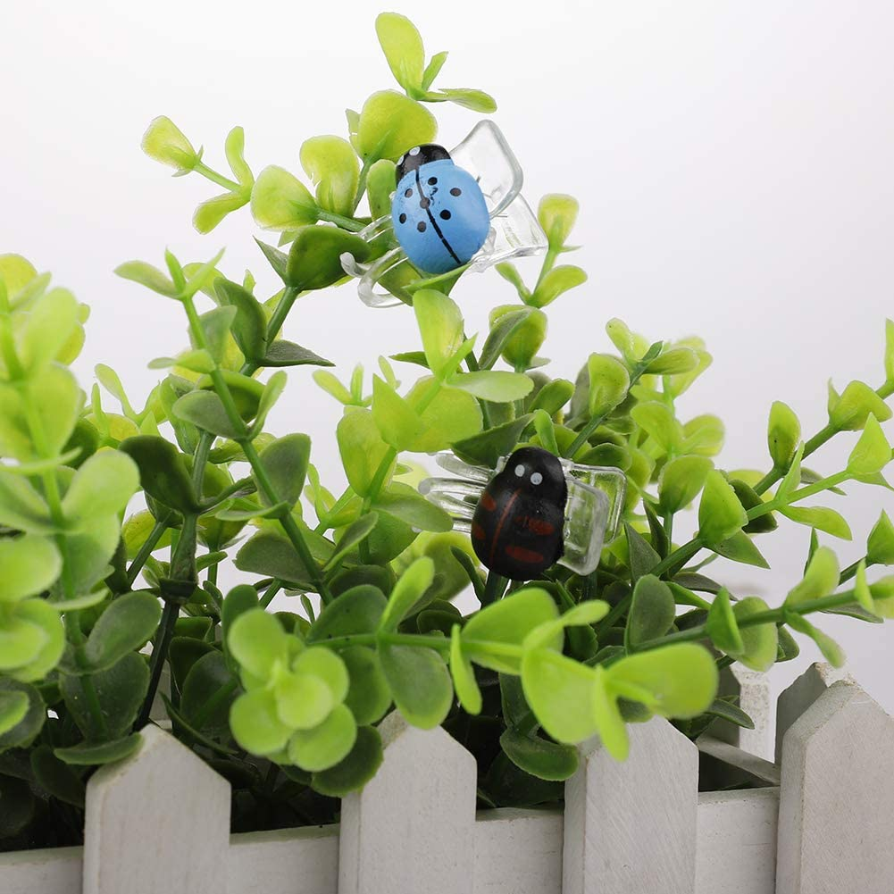 6 Colors Durable Cute Garden Plant Support Clips for Flower Vine Twine Tomato Orchid to Grow Uprightly and Healthily Yugust 30 PCS Ladybug Plant Clips