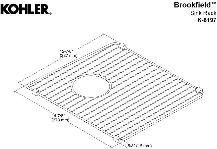 Stainless Steel KOHLER K-6197-St Brookfield Right-Hand Sink Rack