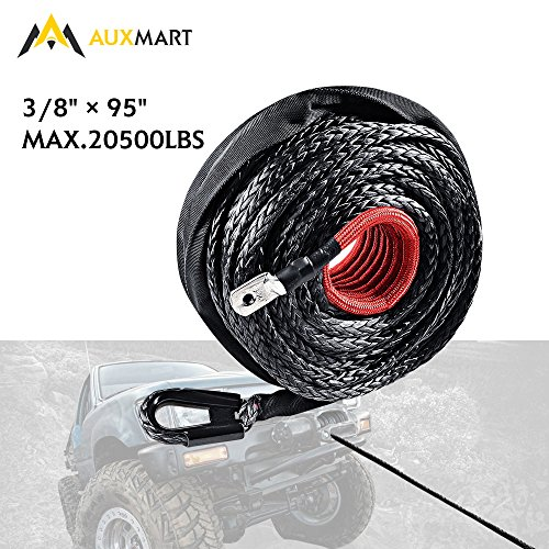 AUXMART Synthetic Winch Rope Winch Line Cable 20500LBs Protective Sleeve 95ft x 3/8