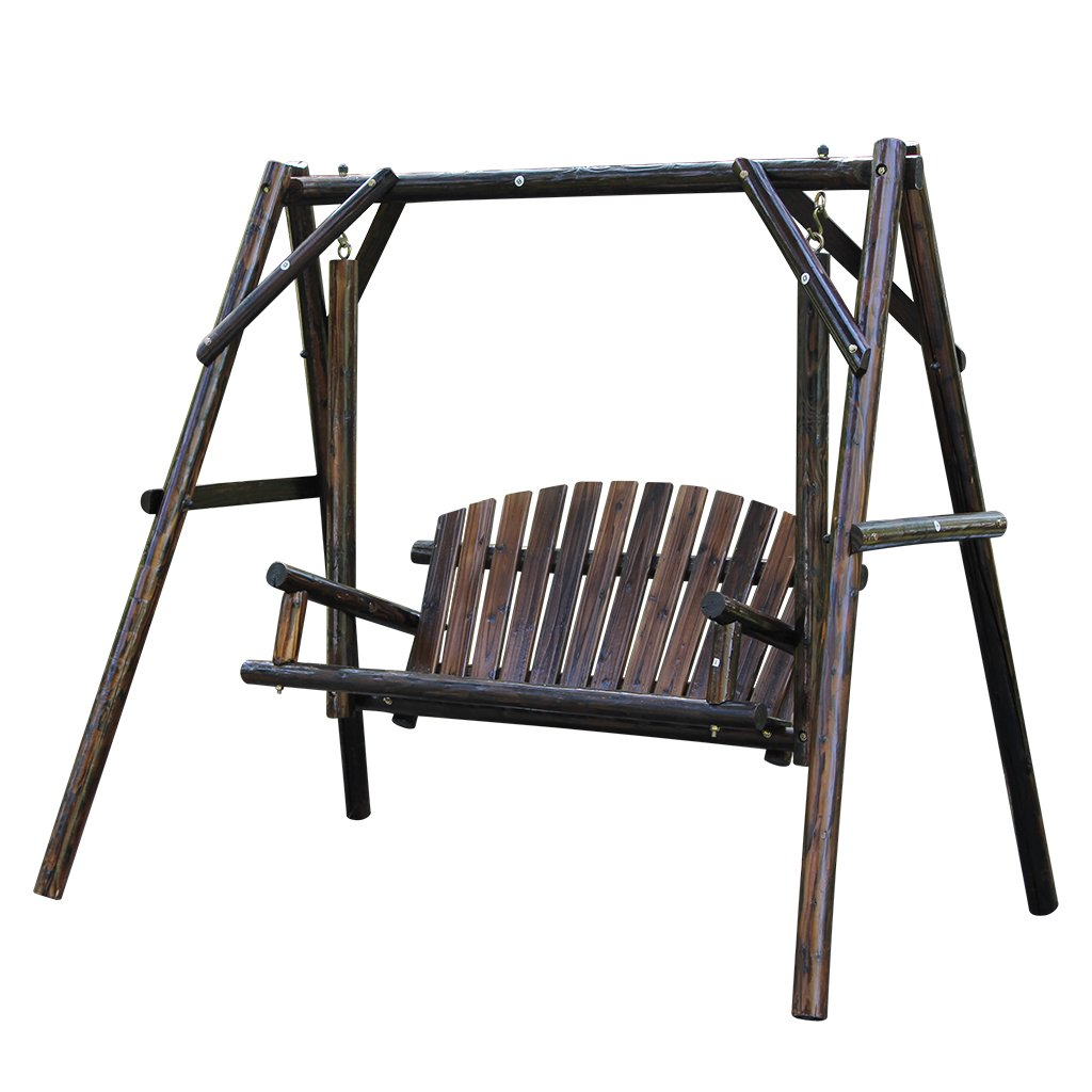 Wooden Garden Swing With Large Space For Outdoor Furniture Natural Style