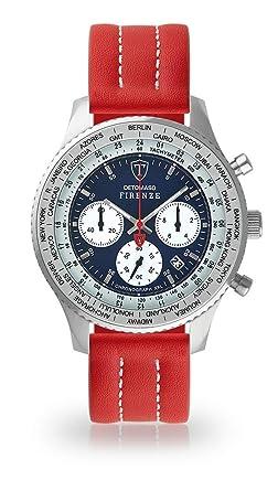 Bracelet En Cuir Chronographe Rouge Cadran Analogique Point Firenze Bleu Quartz Blanc Montre Homme Xxl Pour Detomaso DIYWE29H