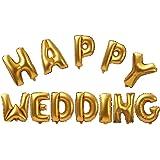 【ノーブランド品】HAPPY WEDDING フォイルエ アヘリウム 風船 ブライダル ウェディング パーティー デコレーション