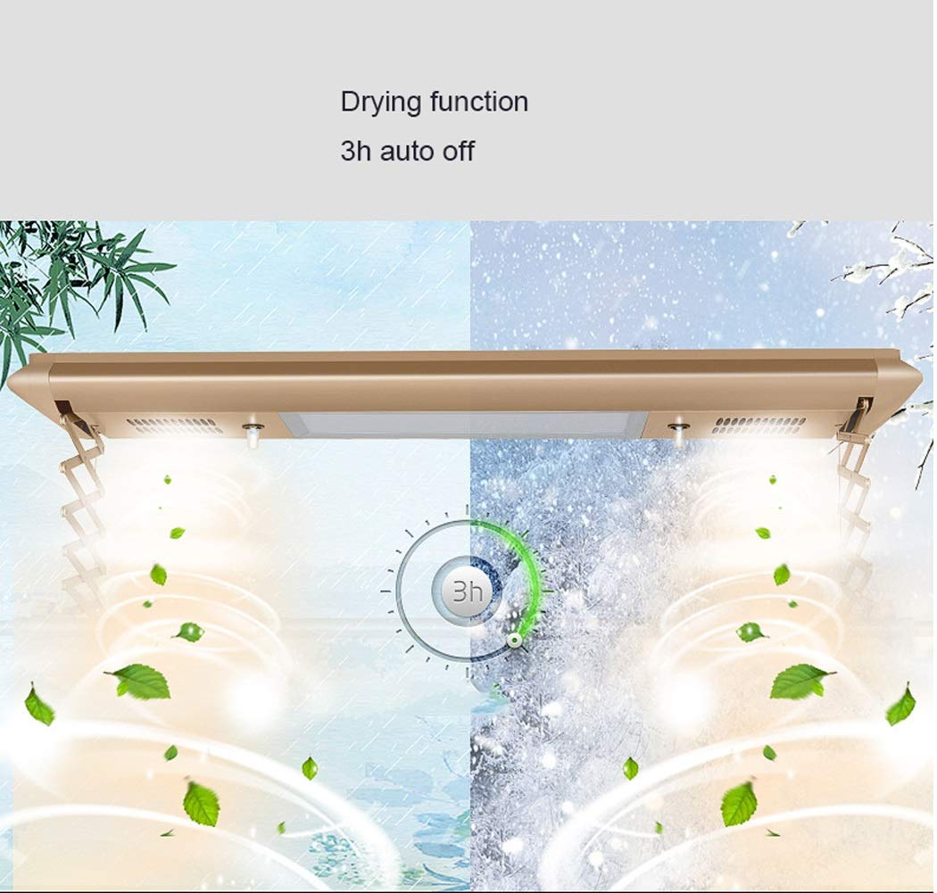 Electric Laundry Drying Rack Ceiling Mounted Clothes Drying Rack with LED Light, Drying Fan, UV Sterilization Remote Control (Color : Silver, Design : 8 crossbars-110v) by LHFJ (Image #4)