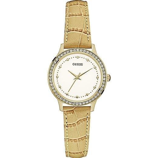 Guess Reloj Analógico para Mujer de Cuarzo con Correa en Cuero W0648L3: Amazon.es: Relojes
