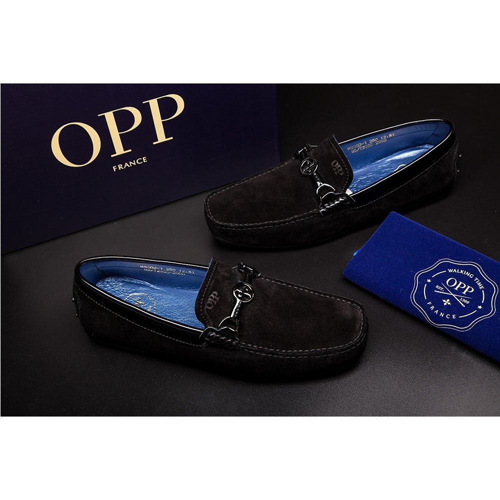 OPP Desinger Men's Fashion Fine Leather Driving Shoes Non-skid Casual Shoe,Black,10 D(M) US