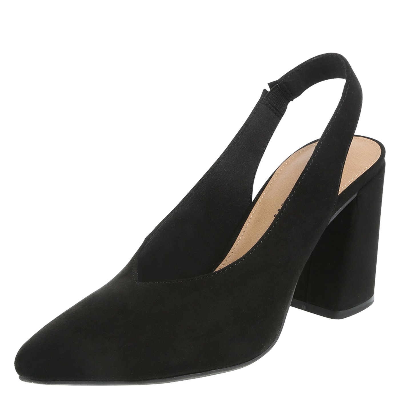 Christian Siriano for Payless Black Suede Women's Palmer Flared Heel Slingback 9.5 Regular
