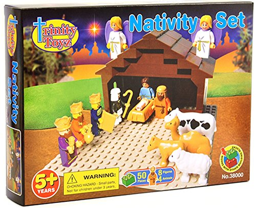 TRI38000 TRINITY TOYZ - Nativity Scene 50-piece Construction Block Set (Construction Scene)