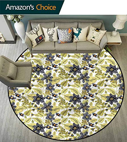 RUGSMAT Floral Modern Vintage Rugs,Victorian Style Clematis Area Rug - Perfect for Any Place Diameter-39