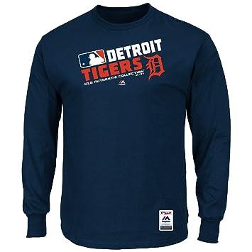 Majestic Detroit Tigers AC Navy Team Choice Long Sleeve T Shirt (S=36)