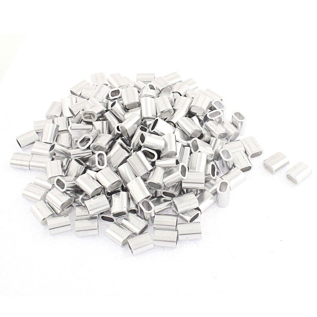 uxcell 4mm Steel Wire Rope Aluminum Ferrules Sleeves Fittings Loop 200 Pcs
