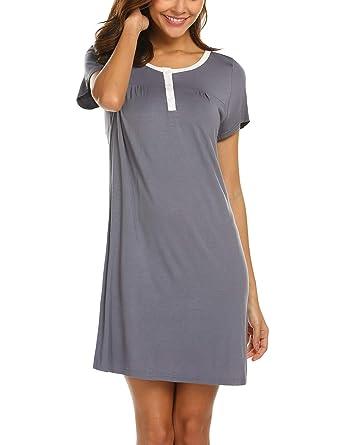 ee090ec4da657e MAXMODA Damen Nachtwäsche Elegant Einfarbiges Nachthemd mit Kurzarm  Schlafhemd mit Knopfleiste Homewear S-XL  Amazon.de  Bekleidung