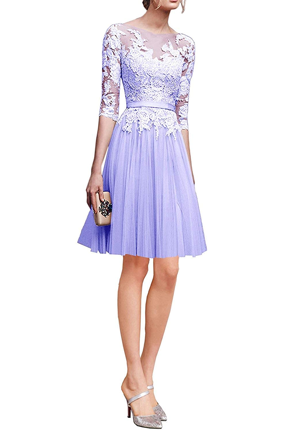 Lavender ZLQQ Woman's Half Sleeves Tulle Short Bridesmaid Dresses Lace Tea Length Evening Gowns