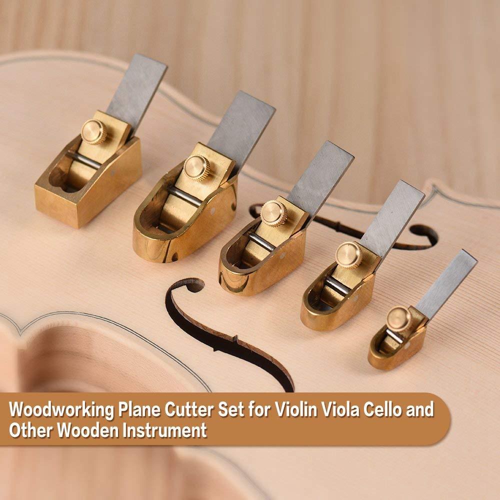 Shumo Set di Frese per Piani nel Legno da 5 Pezzi Suola Curva Strumento nel Metallo per Liutaio nel Rame Violino Violoncello Strumento nel Legno