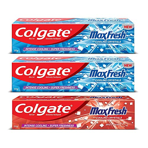 Colgate MaxFresh Anti-cavity Toothpaste, Peppermint Ice, 150gm (Pack of 2) with Colgate MaxFresh Anticavity Toothpaste…