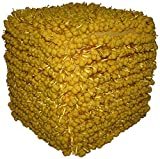 Design Accents Funberry Squared Hand Woven Pouf, Yellow