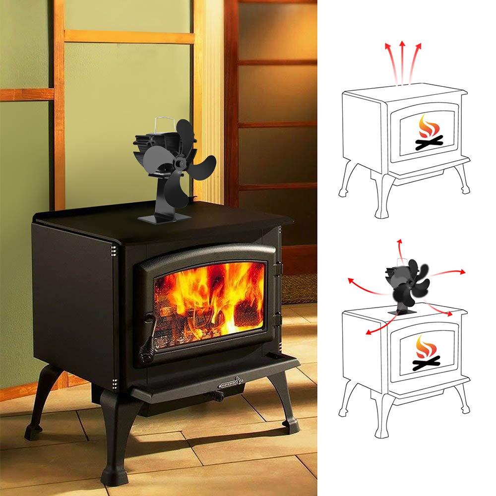 XBDOT Chimenea Ventiladores Calor dinamico Ventilador Mute Ventilador Flujo Fan carbón Madera Pellet Quemador Aire Caliente Circulator impulsión térmica ...