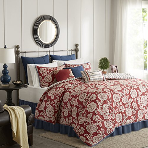 Madison Park Lucy Duvet Cover King Size - Red, Navy, Reversible Floral, Stripes Duvet Cover Set – 9 Piece – Cotton Twill, Cotton Poly Blend Reverse Light Weight Bed Comforter Covers