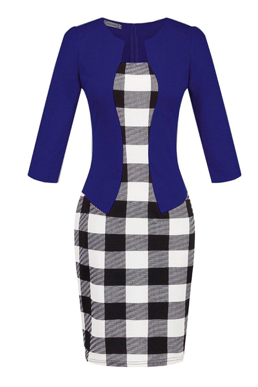 Zamtapary Women Elegant 3/4 Sleeve Fake 2 Pieces Print Business Suit Pencil Dress Belt CAVI174-6-XL