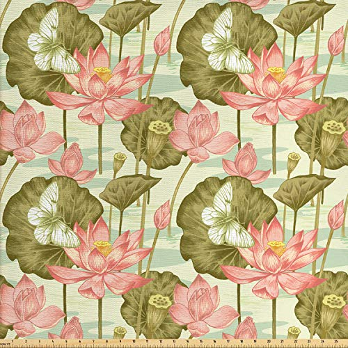 Lunarable Japanese Fabric by The Yard, Exotic Vintage Lotus Flower Buds Stems in Pond Flying Butterfly Oriental Style, Decorative Fabric for Upholstery and Home Accents, 1 Yard, Multicolor (Lotus Fabric)