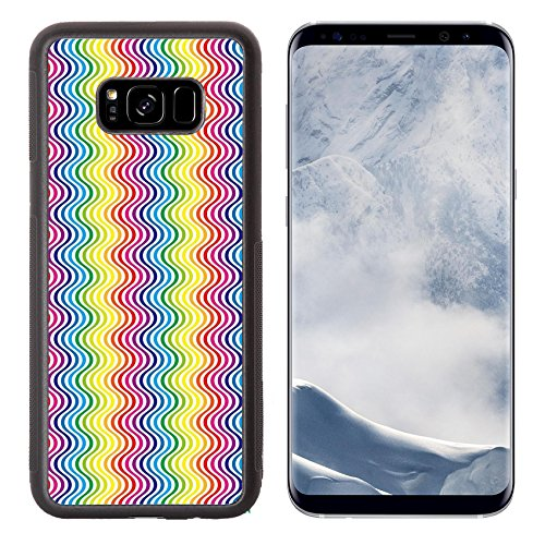 Costume Cheap Colored Contacts (Liili Premium Samsung Galaxy S8 Plus Aluminum Backplate Bumper Snap Case IMAGE ID 32957421 Background Material wallpaper Rainbow colored stripes zigzags)