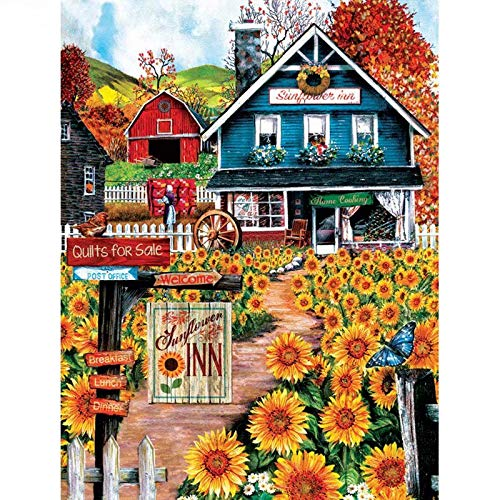 Paint by Number Kits - Sunflowers Inn Hotel Landscape 16x20 Inch Linen Canvas Paintworks - Digital Oil Painting Canvas Kits for Adults Children Kids Decorations Gifts (with Frame)