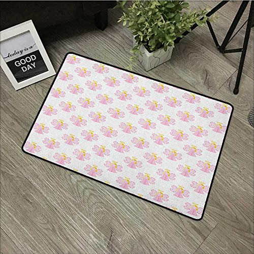 Door mat W35 x L47 INCH Angel,Cute Angels Spiritual Wing Girl with Halo Fairy Tale Surreal Kids Cartoon, Baby Pink Earth Yellow Our Bottom is Non-Slip and Will not let The Baby Slip,Door Mat Carpet