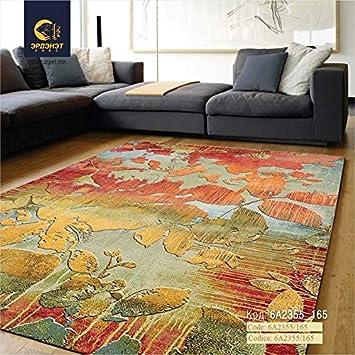 Erdenet Teppich Modern Blumen 200x300 Cm Wolle Bunt Beige Gelb