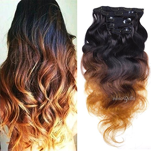 Ombre Body Wave Clip Ins Black to Blonde Real Human for sale  Delivered anywhere in USA