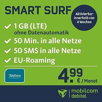 92a1f4a9158bc3 Smart Surf mit 1GB LTE Internet Flat max. 21 MBit/s, 50 Frei-Minuten & 50  SMS in alle deutschen Netze, EU-Roaming, 24 Monate Laufzeit, monatlich nur  ...