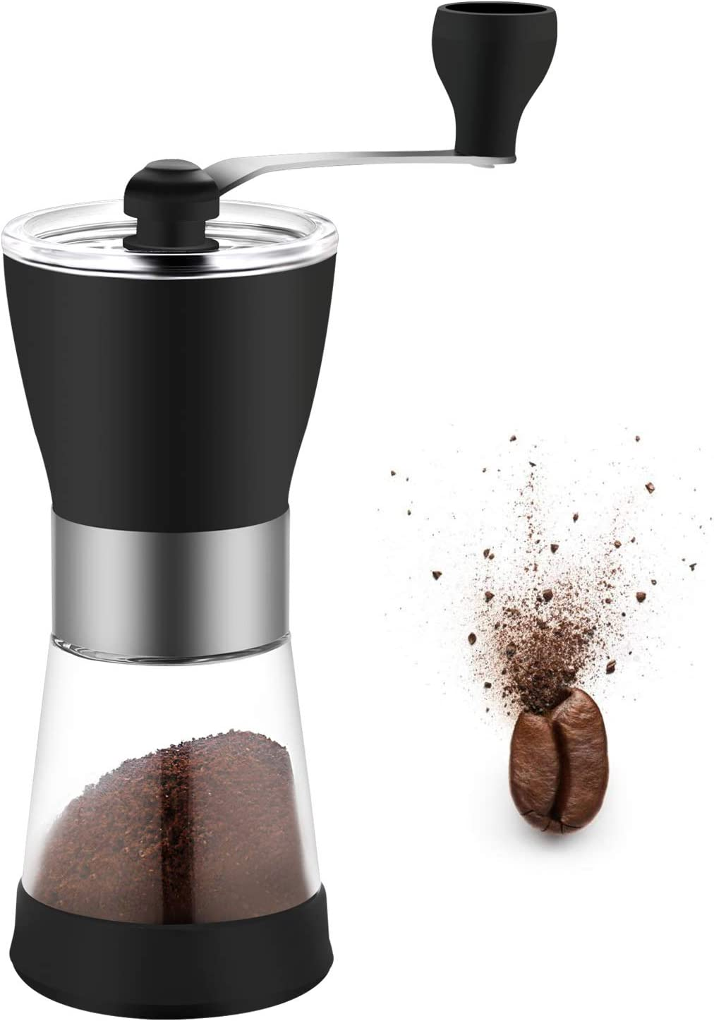 Manual Coffee Grinder, Ceramic Burr Hand Coffee Grinder Mill, Adjustable for Fine/Coarse Grind, Perfect for Home and Camping