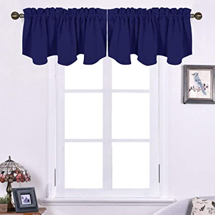 NICETOWN Blackout Valance Tier for Bedroom - 52-inch by 18-inch Scalloped  Rod Pocket Window Curtain Valance for Cafe, Dark Blue, One Piece