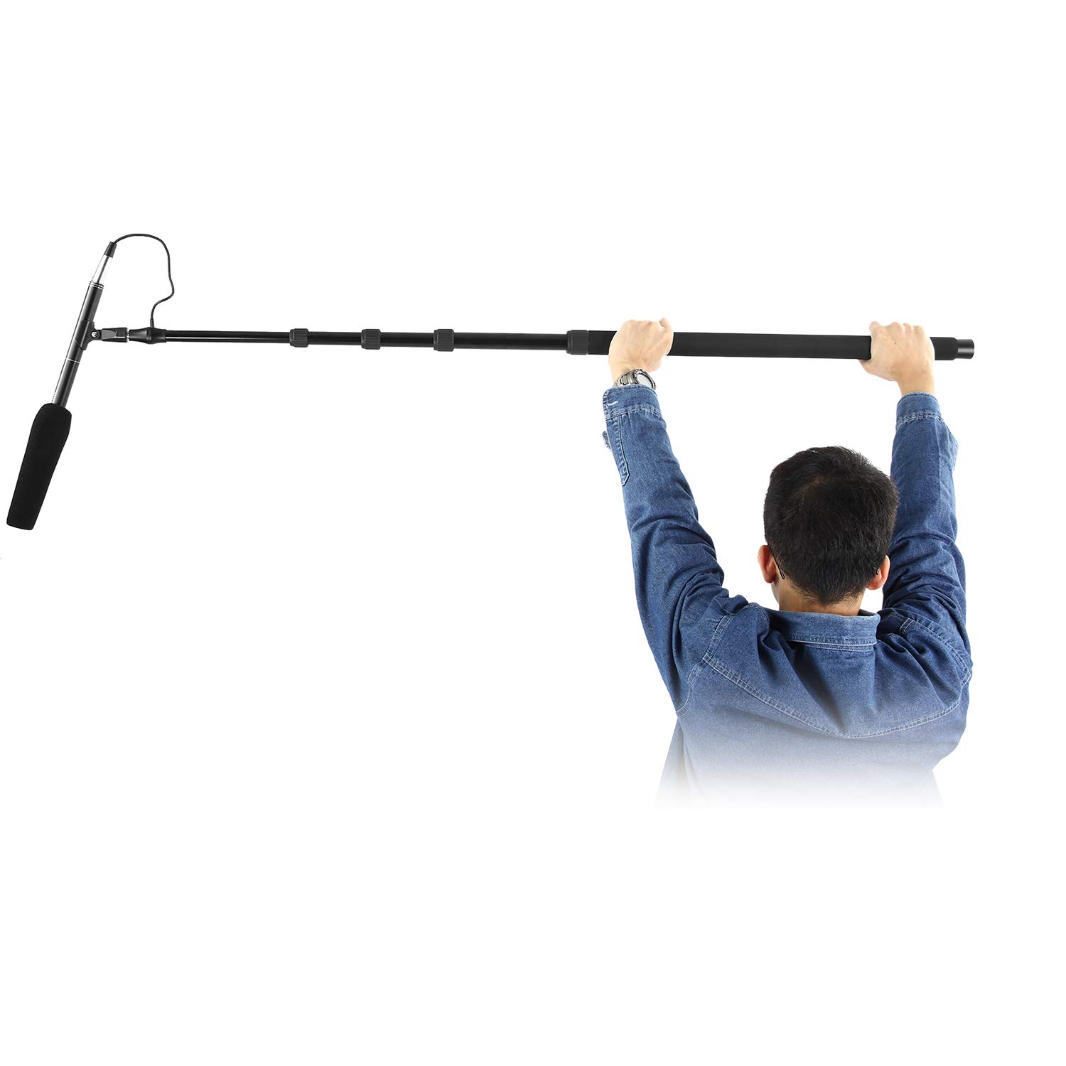 Neewer Portable Handheld Microphone Boom Pole with Built-in XLR Audio Cable, 5 Sections Stretchable 32.6-131 inches, Aluminum Construction with Easy Twist Locks and Padded Handle for Zoom Microphones by Neewer
