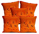 5Pcs-100Pcs Amazing India Orange Cotton Jari Embroidered Work Pillow Cases Cushion Covers Wholesale Lot