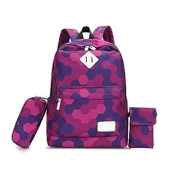 Mochila escolar (3 piezas), bolso escolar para niñas, mochila para portátil con mochila en lienzo Mochila para estudiantes universitarios junior por Beatie: ...