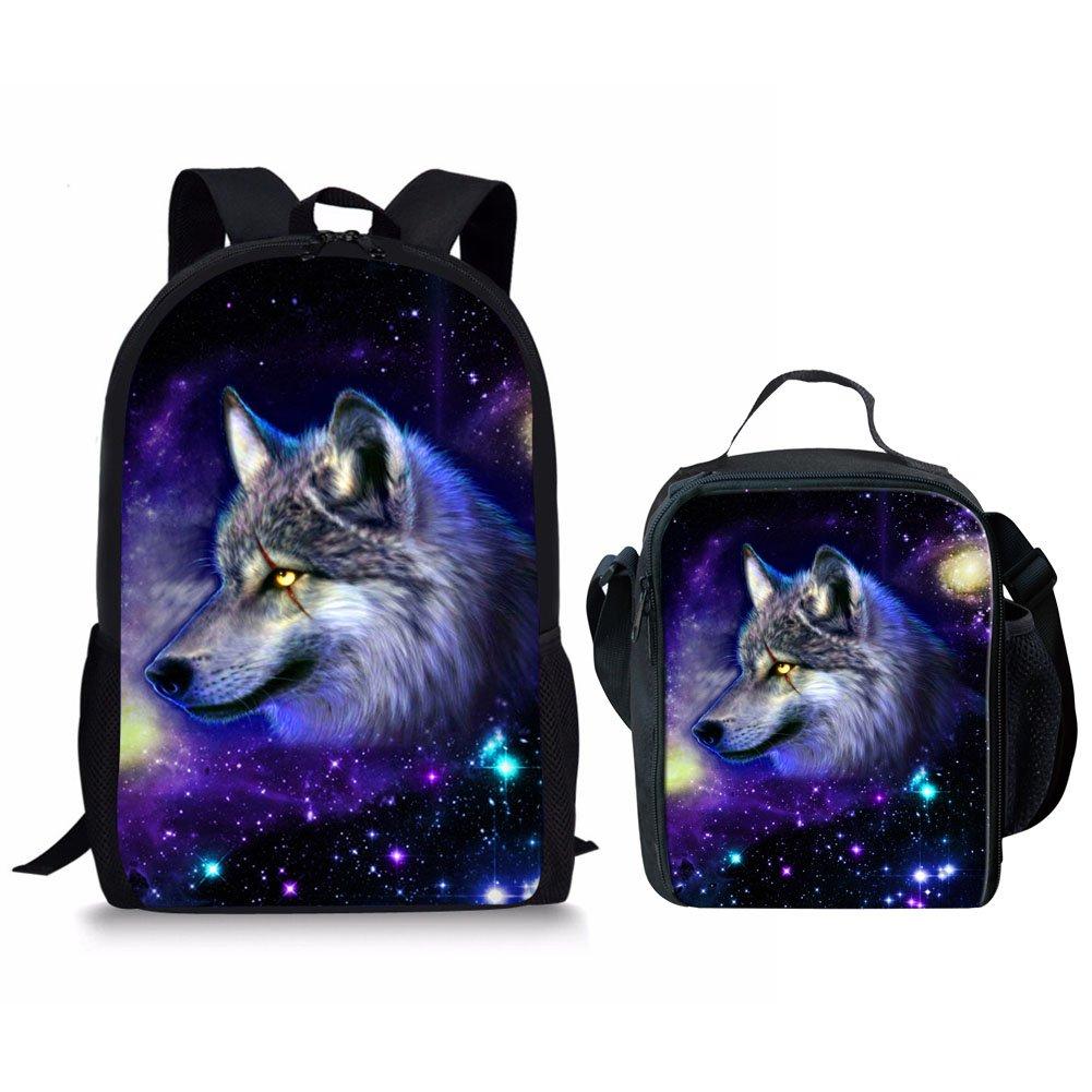 1b7bca45427 HUGS IDEA Galaxy Wolf Animal Backpack Kids Boy School Bag with Thermal  Lunch Box Set